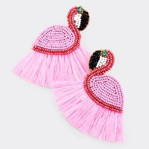 PINK Raffia Flamingo Seed Bead Chandelier Earrings